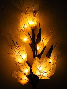 Lily Artificial Flowers Lamps, Vase/floor/table Lamps, Night Light, Wedding Lighting, Home Decor, Gift, Made By Nylon, Paper, Fabric, 20 Light Bulbs, 33 Inch ** For more information, visit image link.