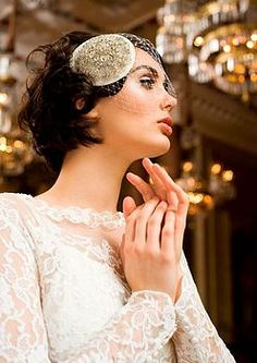 Diamond Dove Embellished Headdress With Veil - a twist on a birdcage veil