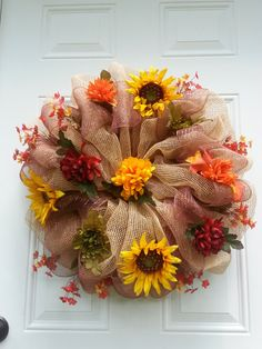 Fall Sunflower Deco Mesh by BandGinspirations on Etsy, $40.00