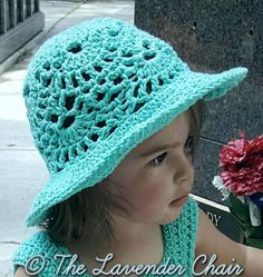 """This Lacy Shells Sun Hat is perfect for keeping the summer sun out of your child face and eyes! It even has a matching dress pattern!"""