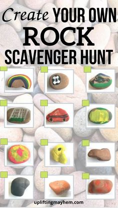Create your own rock scavenger hunt! So many possibilities that will keep your kids busy for hours! Fun scavenger hunt to find different rocks in nature Mindful Activities For Kids, Sensory Activities Toddlers, Infant Activities, Fun Activities, Toddler Crafts, Preschool Crafts, Crafts For Kids, Baby Sensory Ideas 3 Months, Baby Sensory Board
