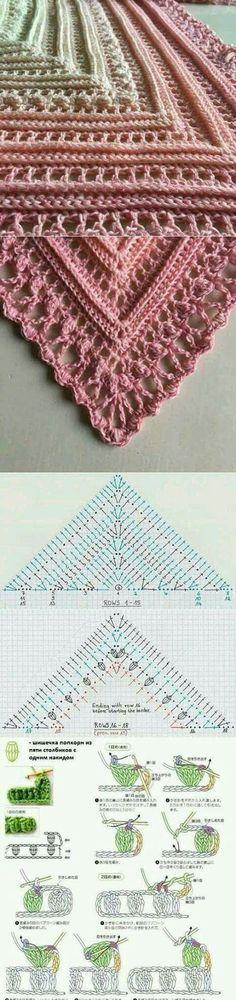 Crochet shawl with chart...