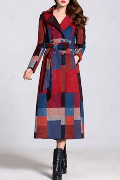 Double Breasted Bleted Plaid Coat