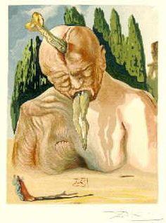 Salvador Dali - Lucifer 달리는 루시퍼를 있는 그대로 표현하지 않았다. 머리가 세 개 대신 하나이며, 하나는 뇌에 박혀있다. 루시퍼 역시 죽은 것 같은 모습이다. 신기한 점은 뇌에 박힌 인물이 사람의 다리가 아니라 물고기의 모습이다. 오히려 그로테스크한 모습이 표현되었다. 역시 단테 일행은 조연으로 처리되었고, 강조되는 루시퍼의 모습이 상당히 크게 자리잡고있다.