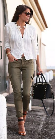 H&m Olive Women's Utility Skinnies by Seams For a Desire…