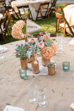 Wonderful Detail Filled Southwestern Desert Flower Themed Wedding at Maravilla Gardens - Fab You Bliss Spring Wedding Centerpieces, Diy Wedding Decorations, Tin Can Centerpieces, Cactus Wedding, Wedding Flowers, Cactus Centerpiece, Centerpiece Ideas, Gold Bottles, Painted Bottles