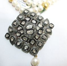 5.00ct  Rose Antique Cut uncut  Polki Diamond 925 Silver Vintage Victorian Estate Mughal Style Anniversary Wedding Party Wear Necklace p_4
