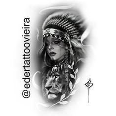 Arte por Éder Dias Vieira artista Brasileiro @edertattoovieira whats 0055 49 999844152 Wolf Dreamcatcher Tattoo, Tribal Tattoos, Girl Arm Tattoos, Tattoo Girls, Red Indian Tattoo, Indian Tattoo Design, Lion Tattoo Sleeves, Sleeve Tattoos, Tattoo Sketches