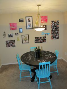 """Chalkboard table. Super cute idea for a first apartment or a """"kids table"""" during large family gatherings!"""