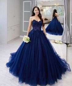 Navy Blue Tulle Sweetheart Long Lace Applique Formal Prom Dress, Shop plus-sized prom dresses for curvy figures and plus-size party dresses. Ball gowns for prom in plus sizes and short plus-sized prom dresses for Quince Dresses, Prom Dresses Blue, Formal Evening Dresses, Pretty Dresses, Strapless Dress Formal, Formal Prom, Navy Blue Quinceanera Dresses, Dress Prom, Evening Gowns