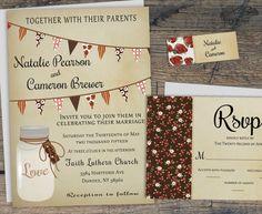 Fall Rustic Wedding Invitation, Mason Jar Wedding Invitation Set, Printable Barn Wedding Invite w/ Bunting Flags, Country Wedding Invitation by X3designs