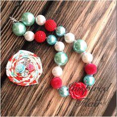 Aqua et doux rouge perle Bubblegum Chunky Collier - noeud pour cheveux-anniversaire-bébé fille collier - bambin fille collier-