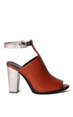 Cognac And Gunmetal Vincent Ankle Strap Mule by 3.1 Phillip Lim