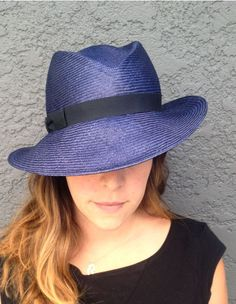 Navy Blue Panama Style Hat | Una Hats