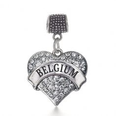 Inspired Silver Jersey Girl Pave Heart Memory Charm Fits Pandora Bracelets & Compatible with Most Major Brands such as Chamilia, Murano, Troll, Biagi and other European Bracelets - Shop Fun New Jersey Anklet Bracelet, Heart Bracelet, Anklets, Pandora Bracelets, Charm Bracelets, Silver Bracelets, Pandora Charms, Heart Charm, Silver Jewelry