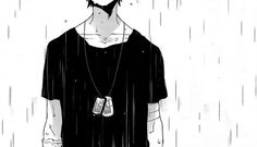 #anime #boy #rain the feeling of the rain touching your face its the most relaxing thing when your sad...seems like the world is supporting you