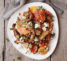 This warm winter salad has it all: colour, flavour and texture. Sweet blood oranges, sharp feta and nutty Jerusalem artichokes combine to create a beautiful side or seasonal meze