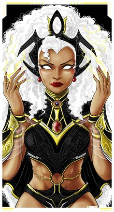 Storm from The Marvel Comic Universe and The X-Men. Storm Xmen, Storm Marvel, Storm Comic, Comic Book Characters, Comic Character, Female Characters, Marvel Characters, Marvel Fanart, Marvel Comics Art