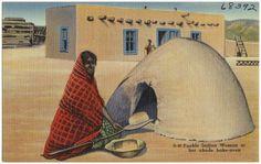 pueblo+ovens   Description G-50 Pueblo Indian woman at her adobe bake-oven.jpg