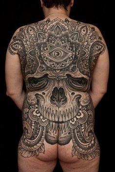 Thomas Hooper created this enormous back piece. #InkedMagazine #skull #Back #butt #tattoo #tattoos #Inked #Ink