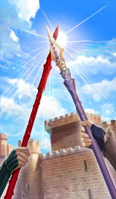 This Craft Essence can be obtained by bringing Diarmuid Ua Duibhne's Bond Level to It comes at max level with all limit breaks. TRIVIA This Craft Essence features Fionn mac Cumhaill wielding Mac an Luin and Diarmuid Ua Duibhne wielding Gáe Dearg. Anime Weapons, Fantasy Weapons, Fionn Mac Cumhaill, Diarmuid Ua Duibhne, Gate Of Babylon, Spears Weapon, Fate Stay Night Series, Shannara Chronicles, Concept Weapons