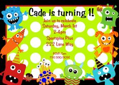 Little Monster Birthday Invitation Monster Birthday Party Invitations Printable Digital Boys or Girls. $15.00, via Etsy.
