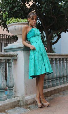 Falda y top de algodón y lino inspirado en los 50