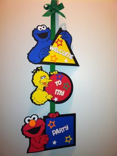 Sesame Street birthday door sign the party is by ACraftCreation, $15.00
