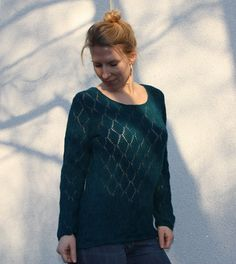 Craftrebella: Petrol knitted Lace Pullover, size M/L