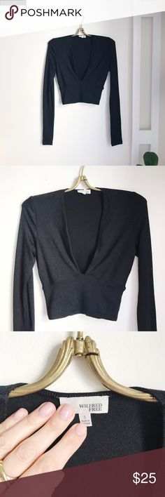 Aritzia Deep V-Cut Cropped Shirt Great condition • soft material • low front • Cropped • great for layering Aritzia Tops Crop Tops