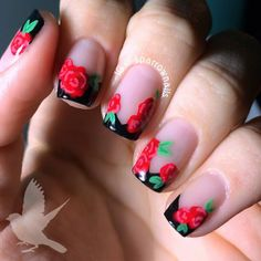 Floral French tips