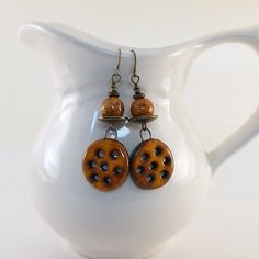 Orange Honeycomb Rustic Ceramic Earrings by CinLynnBoutique