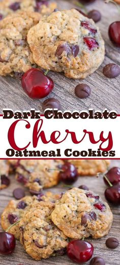 These Dark Chocolate Cherry Oatmeal Cookies are your favorite old fashioned oatmeal cookie made even better! With the addition of dark chocolate chips and chopped fresh cherries, they're a sure sign that summer's finally arrived. Source by Cookies Et Biscuits, Chip Cookies, Baby Cookies, Heart Cookies, Köstliche Desserts, Dessert Recipes, Cherry Desserts, Plated Desserts, Healthy Desserts