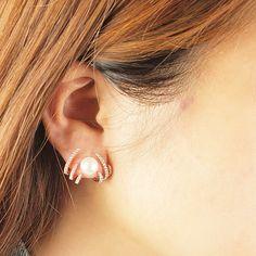 Pearl Canopy Ear Jacket 925 Sterling Silver Stud Earrings set