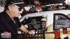 Davey Allison listens to veteran driver Red Farmer in the garage area at the Alabama International Motor Speedway prior to the running of the Talladega DieHard 500 NASCAR Cup race. Farmer was a. Get premium, high resolution news photos at Getty Images Nascar Rules, Nascar Live, Dirt Racing, Nascar Racing, Talladega Superspeedway, American Stock, Racing Quotes, Richard Petty, Old Race Cars