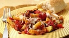 Fire roasted tomatoes add a rich, smoky flavor to a delicious cheesy baked pasta dish.
