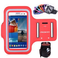 MoKo Sports Armband for Cellphones up to 5.2 Inch - Compatible with Apple iPhone 6 4.7, Samsung Galaxy S6, Google Nexus 5, Sony Xperia Z4, HTC One M9, Key holder Slot, Sweat-proof, RED. Designed specifically for Cellphones up to 5.2 Inch, Lightweight armband keeps your phone secure and protected. (Note: Suitable for use without phone case). Water Resistant and sweat-proof function to better protect your mobile phone, make you feel more comfortable during exercise. Adjustable Velcro band...