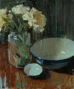 "flowers and bowls by Robert Lemler Oil ~ 12"" x 10"""