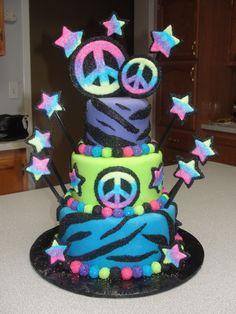 Peace Sign Cake.....need something like this... same colors same peace sign same zebra print but some leopard print for her 7th bday