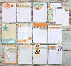 journaling cards | Project Life Journaling Cards using October Afternoon....