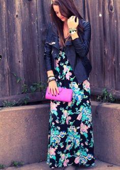 Fall floral: Yumi Kim dress I Leather jacket I Cleobella clutch #pinksaloon