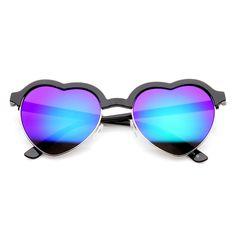 Cute Half Frame Flash Revo Lens Heart Shaped Sunglasses 9630 - zeroUV