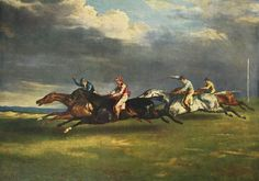 """The 1821 Derby at Epsom, or Horse race (""""Course de chevaux, dit traditionnellement Le derby de 1821 à Epsom per the Louvre""""), is an 1821 painting by Théodore Géricault in the Louvre Museum, showing the Epsom Derby of that year. Painted Horses, Canvas Art, Canvas Prints, Art Prints, Arte Equina, Epsom Derby, Oil Painting Reproductions, Equine Art, Horse Art"""