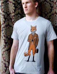 Dapper Fox Tshirt on silver - Men's animal shirt // size L  https://www.etsy.com/listing/92912962/dapper-fox-tshirt-on-silver-mens-animal?ref=sr_gallery_35&ga_search_query=mens+fox&ga_search_type=all&ga_view_type=gallery