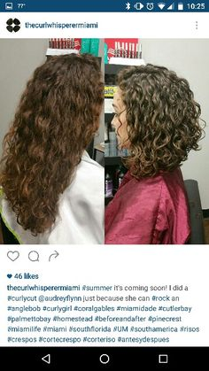 Curly angled bob haircut by The Curl Whisperer in Miami
