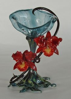 Beautiful Cattleya goblet - flame-worked glass by Margaret Neher.