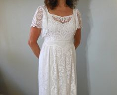 White BoHo Hippie LACE Crochet Wedding DRESS by MuseClothing, $375.00