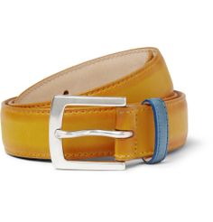Paul Smith - Yellow 3cm Burnished-Leather BELT | MR PORTER