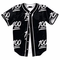 100 Emoji Jersey Black & White