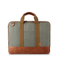 """Piccadilly Briefcase: Waxed Canvas & Leather Bag for up to 13"""" Notebooks (I'd get this if the ee in toffee wasn't reversed)"""